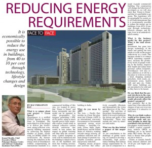 Deccan Chronicle - Reducing Energy Requirements